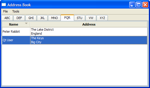 Screenshot Of The Address Book Example