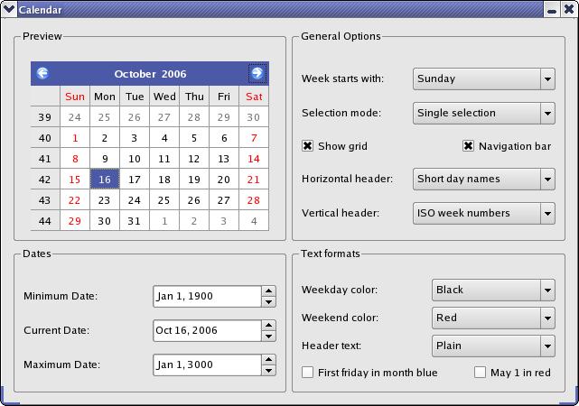Qt 4 8: Calendar Widget Example