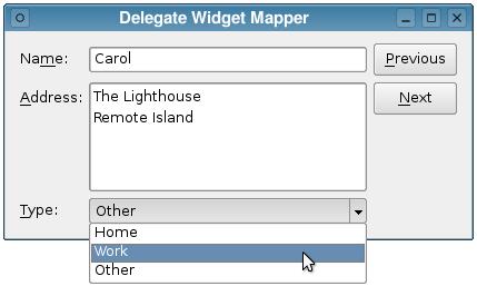 Qt 4 8: Combo Widget Mapper Example